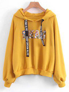 Oversized Letter Embroidered Sequined Hoodie - Yellow S