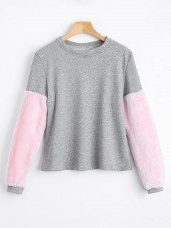 Faux Fur Embellished Sweatshirt - Gray Xl