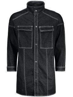 Costura De Botón Abajo Denim Coat - Negro Xl