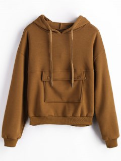 Front Pocket Fleece Hoodie - Brown M