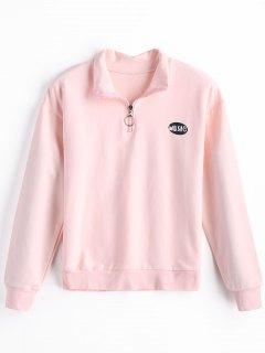Half-zipper Cotton Sweatshirt - Pink S