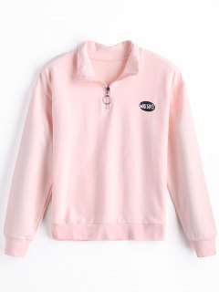 Camiseta De Algodón De Media Cremallera - Rosa S