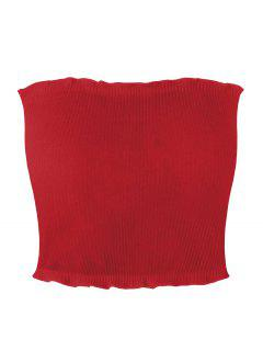 Geripptes Tube Top Mit Volants - Rot Xl
