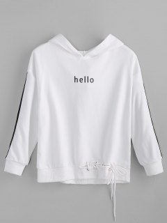Hello Graphic Lace-up Hoodie - White Xl