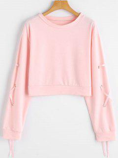 Lace Up Sleeve Drop Shoulder Crop Sweatshirt - Pink M
