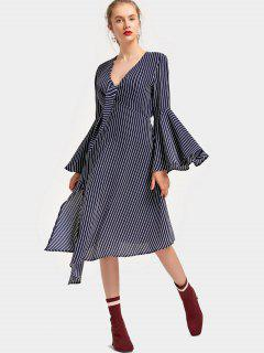 Plunging Neck Flare Sleeve Striped Asymmetric Dress - Purplish Blue L