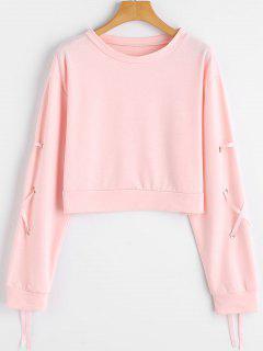 Crop Sweatshirt Mit Schnürsenkel An Den Hülsen Und Drop Schulter - Pink S
