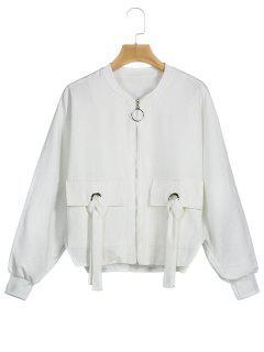 Zipper Sleeve Batwing Jacket - White S