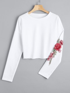 Cropped Floral Embroidered Patches Sweatshirt - White L