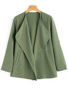 Open Front Coat With Pockets - Army Green S