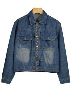 Embroidered Cropped Denim Jacket - Blue S