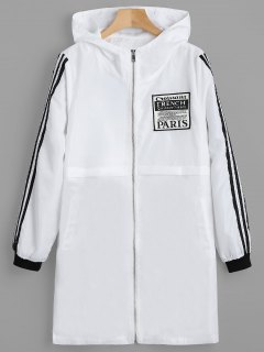 Badge Patched Zip Up Hooded Coat - White M
