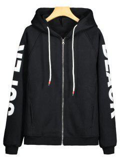 Fleece Graphic Zip Up Hoodie - Black S