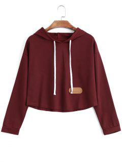Cropped Chevron Patched Hoodie - Wine Red