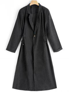 One Button Lapel Trench Coat - Black L