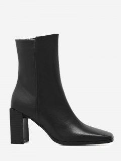 Block Heel Square Toe Side Zipper Boots - Black 37