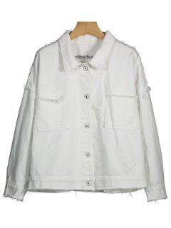 Letter Embroidered Distressed Denim Jacket - White S
