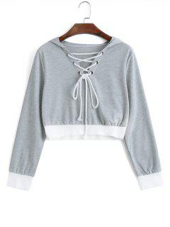Cropped Contrasting Lace Up Hoodie - Light Gray S