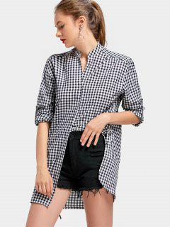 Notched Side Lace Up Checked Blouse - Checked L