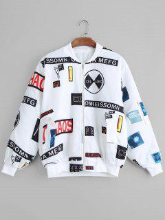 Zip Up Letter Patched Bomber Jacket - White S