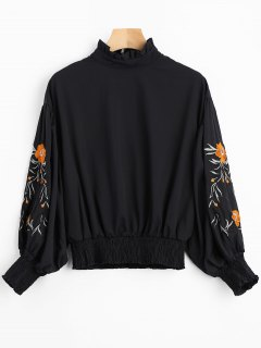Floral Patched Lantern Sleeve Ruffled Blouse - Black M