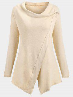 Knitted Slit Asymmetrical Sweatshirt - Apricot Xl