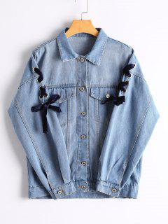 Lace Up Sleeve Button Up Denim Jacket - Blue M