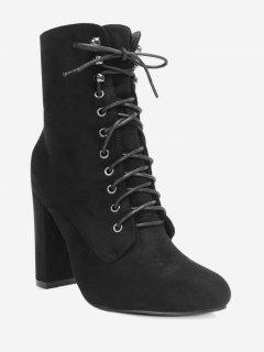 Chunky Heel Lace Up Ankle Boots - Black 35