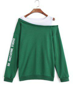 Two Tone Letter Cold Shoulder Sweatshirt - Green Xl