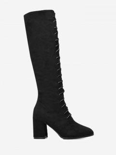Chunky Heel Lace Up Knee High Boots - Black 35