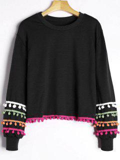 Colored Pom Pom Trimmed Sweatshirt - Black