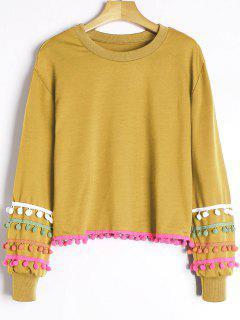 Colored Pom Pom Trimmed Sweatshirt - Ginger