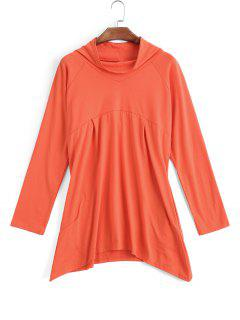 Asymmetrical Mock Neck Sweatshirt - Orangepink S