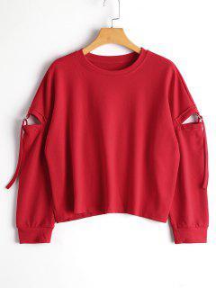 Cut Out Drop Shoulder Plain Sweatshirt - Red