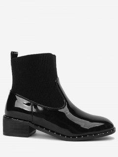 Low Heel Rivets Splicing Ankle Boots - Black 36