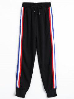 Striped Drawstring Jogger Pants - Black M