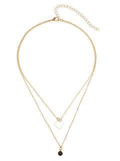 Geometric Round Pendant Layered Necklace - Golden