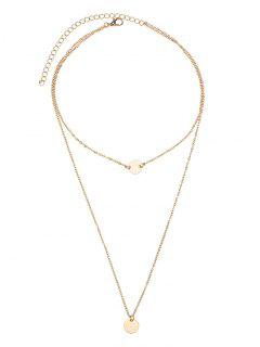 Disc Round Pendant Layered Necklace - Golden