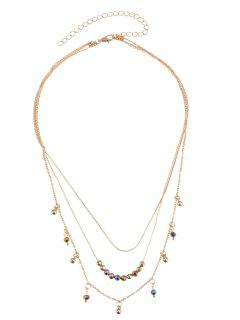Statement Alloy Beaded Layered Pendant Necklace - Golden
