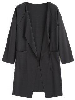 Drop Shoulder Draped Coat With Pockets - Black M