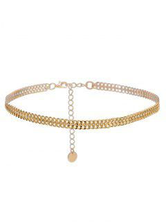 Alloy Braid Disc Chain Necklace - Golden