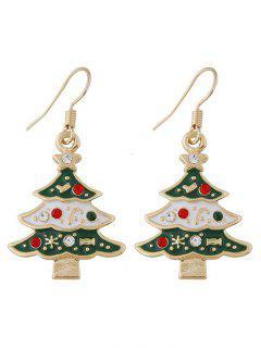 Chrismas Tree Faux Gem Star Design Hook Earrings - Green
