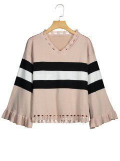Distressed Striped V Neck Sweater - Apricot