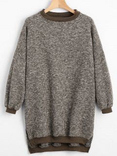 Side Slit High Low Sweater - Brown
