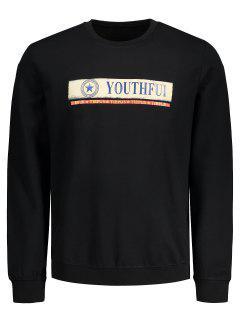 Graphic Youthful Print Sweatshirt - Black L