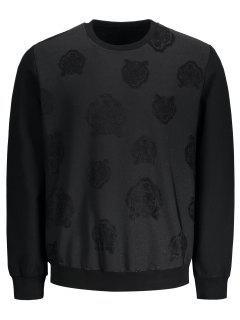 Slim Fit Patterned Pullover Sweatshirt - Black 2xl