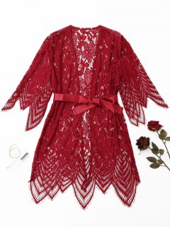 Scalloped Lace Night-robe - Red