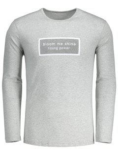Slim Fit Long Sleeve Letter Tee - Gray L
