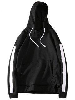 Fleece Sides Striped Mens Hoodie Men Clothes - Black 2xl