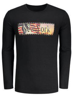 New York Letter Print T-shirt - Black L